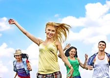 Group people summer outdoor. Royalty Free Stock Image