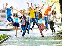 Group people in summer outdoor. Royalty Free Stock Photo
