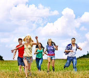 Group people summer outdoor. Royalty Free Stock Images