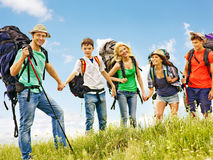 Group people summer outdoor. Stock Photos