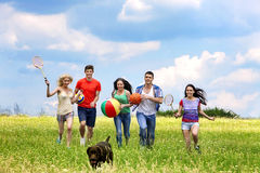 Group people summer outdoor Stock Image