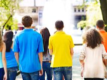 Group people in summer outdoor. Royalty Free Stock Photography