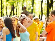 Group people in summer outdoor. Royalty Free Stock Image
