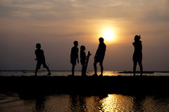 Group of people at sunset on the beach. Silhouette group of people at sunset on the beach Royalty Free Stock Photo