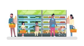 Group Of People In Supermarket With Bags And Baskets Shopping And Buying Products, Grocery Consumerism Concept. Flat Vector Illustration Stock Photo