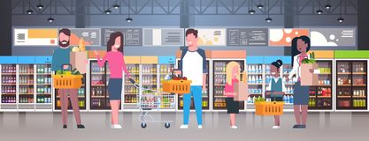 Group Of People In Supermarket, Holding Bags, Baskets And Pushing Trolleys With Grocery Products. Flat Vector Illustration Stock Photos