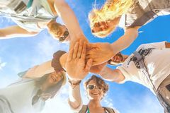 Group of people supporting each others. Concept about team work Stock Images