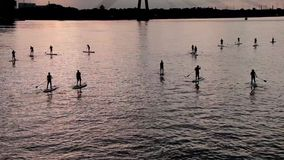 A group of people surfing with stand up paddle boards at beautiful sunset 2 stock footage