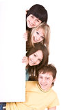 Group of people take banner. Stock Images