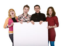 Group of people take banner Stock Photo