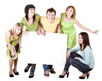 Group of people take banner. Royalty Free Stock Image