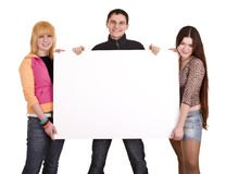 Group of people take banner. Stock Image