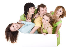 Group of people take banner. Stock Photography