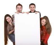 Group of people take banner. Stock Photo
