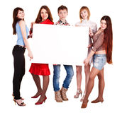 Group of people take banner. Royalty Free Stock Photography