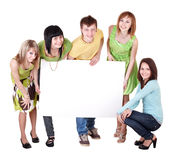 Group of people take banner. Royalty Free Stock Photo