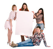 Group of people take banner. Royalty Free Stock Photos