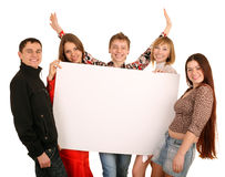 Group of people take banner. Stock Photos