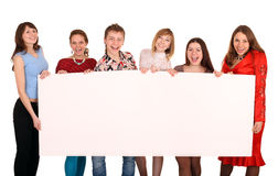 Group of people take banner. Royalty Free Stock Images