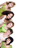 Group of people take banner Stock Photography