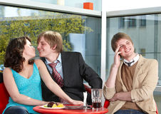 Group of  people talking in cafe. Royalty Free Stock Image