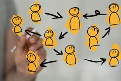 A group of people talking in social network