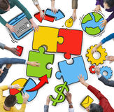 Group of People with Teamwork Concept Photo and Illustration Stock Photography