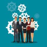 Group people teamwork gears collaboration. Vector illustration Stock Photo