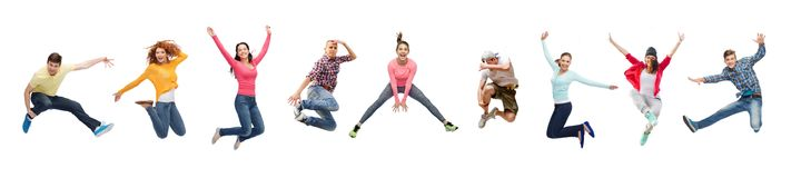 Group of people or teenagers jumping royalty free stock image