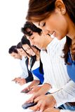 Group of people texting Stock Photo