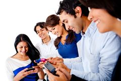 Group of people texting Royalty Free Stock Images