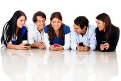 Group of people texting Stock Image