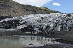 Ice climbing tour, Sólheimajökull glacier, Iceland stock image