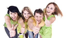Group of people throwing out thumbs. Stock Photography
