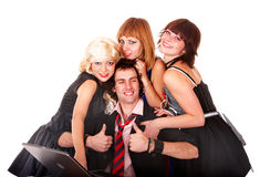 Group of people with thumb up and laptop. Royalty Free Stock Photography