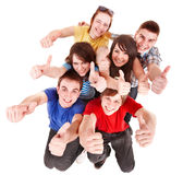 Group people with thumbs up. Royalty Free Stock Photo