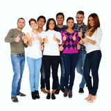 Group of people with thumbs up. Happy group of people with thumbs up - isolated over white Royalty Free Stock Photo