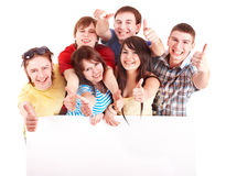 Group people with thums up and banner. Royalty Free Stock Photography