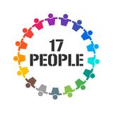 Group of 17 People Together Stand. Vector Illustration Royalty Free Stock Photography