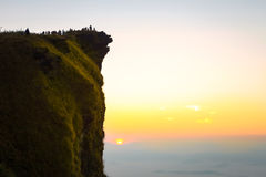 Group of people on top of a mountain at phu cheefa royalty free stock images