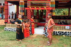 Group of people in traditional clothes at funeral ceremony. Tana Toraja Royalty Free Stock Image