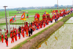 Group of people in traditional costume palanquin procession of h Stock Image