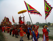 Group of people in traditional costume palanquin procession of h Stock Images