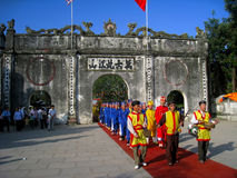 Group of people in traditional costume palanquin procession of h Stock Photo