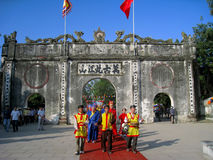 Group of people in traditional costume palanquin procession of h Royalty Free Stock Photo