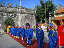 Group of people in traditional costume palanquin procession of h Stock Photography