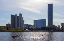 group of people on the train kayak on a city pond in Yekaterinburg Royalty Free Stock Photo