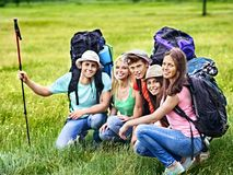 Group people on travel. Royalty Free Stock Image