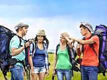 Group people on travel. Stock Images