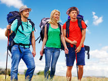 Group people on travel. Stock Photos